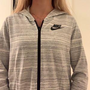 NIKE gray zip up jacket with hoodie